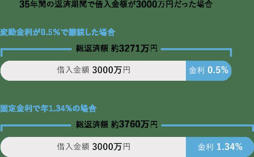 35年間の返済期間で借入金額が3000万円だった場合